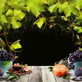 Fundo saudável do alimento com frutos, as folhas verdes da uva e placa de tabela de madeira cinzenta ilustração do vetor