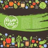 Fundo saudável do alimento da dieta do vegetariano, vetor ilustração royalty free