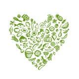 Fundo saudável do alimento, esboço da forma do coração para ilustração do vetor