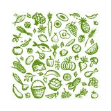 Fundo saudável do alimento, esboço para seu projeto ilustração stock