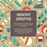Fundo saudável do molde do conceito do estilo de vida do inverno Imagens de Stock Royalty Free