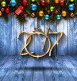 Fundo sazonal do ano 2017 novo feliz com quinquilharias do Natal Fotografia de Stock Royalty Free