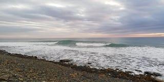 Fundo Seascape do sanset da tempestade foto de stock