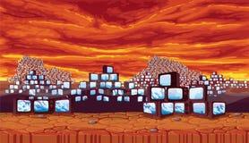 Fundo sem emenda - área deserta com céu sinistro, scrapyard da tevê retro das pirâmides Fotos de Stock