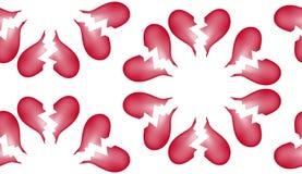 Fundo sem emenda 7 do teste padrão da telha do coração quebrado Imagens de Stock