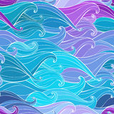 Fundo sem emenda abstrato com ondas desenhados à mão Illus do vetor Imagens de Stock