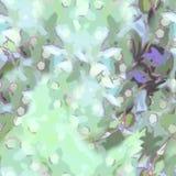Fundo sem emenda abstrato em testes padrões das folhas com um bokeh, de máscaras verdes com linhas carmesins e de um elemento lil Imagem de Stock