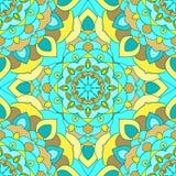 Fundo sem emenda abstrato floral decorativo brilhante do mão-desenho azul e amarelo com muitos detalhes para o uso no projeto ilustração do vetor