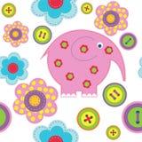 Fundo sem emenda bonito com botões e flores do elefante ilustração royalty free