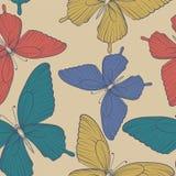 Fundo sem emenda bonito com cor do vintage das borboletas Fotografia de Stock Royalty Free