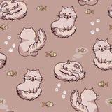 Fundo sem emenda bonito com gato e peixes ilustração do vetor