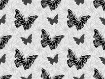 Fundo sem emenda bonito de cores preto e branco das borboletas foto de stock