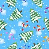 Fundo sem emenda com árvore e boneco de neve de Natal ilustração do vetor