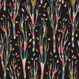Fundo sem emenda com árvores estilizados Teste padrão brilhante da floresta árvores dos retalhos, acolhedores, outono, fundo escu fotos de stock