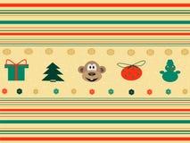 Fundo sem emenda com ícones do Natal Fotos de Stock Royalty Free