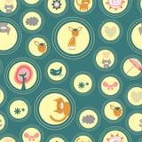 Fundo sem emenda com animais e vários elementos ilustração stock