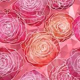 Fundo sem emenda com as flores cor-de-rosa de florescência no styl dos triângulos ilustração stock