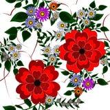 Fundo sem emenda com as flores vermelhas bonitas Fotografia de Stock Royalty Free