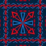 Fundo sem emenda com as formas geométricas diferentes, azuis com vermelho, pilhas ilustração do vetor