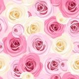 Fundo sem emenda com as rosas cor-de-rosa e brancas. Fotos de Stock