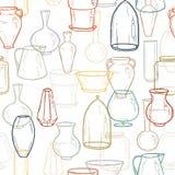 Fundo sem emenda com as silhuetas dos vasos Desenho da mão Ilustração do vetor Imagem de Stock