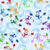 Fundo sem emenda com boneco de neve ilustração royalty free