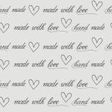Fundo sem emenda com caligrafia para o pacote feito a mão Imagens de Stock Royalty Free