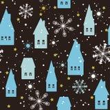 Fundo sem emenda com casas, flocos de neve e sn Fotos de Stock Royalty Free