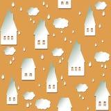Fundo sem emenda com casas, nuvens e gotas Imagens de Stock Royalty Free