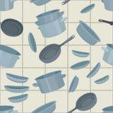 Fundo sem emenda com cookware Imagens de Stock Royalty Free