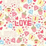 Fundo sem emenda com copo, diamante, corações, morangos, borboletas e amor Foto de Stock Royalty Free