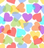 Fundo sem emenda com corações nas cores pastel Fotografia de Stock Royalty Free