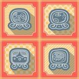 Fundo sem emenda com dias nomeados do calendário do Maya e glyphs associados ilustração do vetor