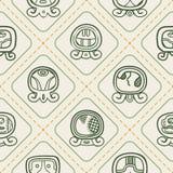 Fundo sem emenda com dias nomeados do calendário do Maya e glyphs associados Foto de Stock