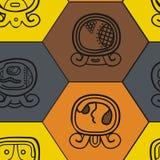 Fundo sem emenda com dias nomeados do calendário do Maya e glyphs associados Imagens de Stock