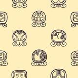 Fundo sem emenda com dias nomeados do calendário do Maya e glyphs associados Fotos de Stock Royalty Free