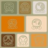 Fundo sem emenda com dias nomeados do calendário do Maya e glyphs associados Imagens de Stock Royalty Free