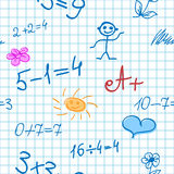 Fundo sem emenda com fórmulas da matemática Fotos de Stock Royalty Free