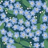 Fundo sem emenda com flores azuis Fotos de Stock Royalty Free