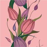 Fundo sem emenda com flores cor-de-rosa Imagem de Stock Royalty Free