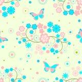 Fundo com flores e borboletas Fotos de Stock