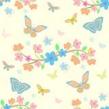 Fundo com flores e borboletas Fotos de Stock Royalty Free