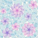 Fundo sem emenda com flores e folhas Fotografia de Stock