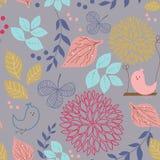 Fundo sem emenda com flores e pássaros Ilustração Royalty Free