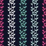 Fundo sem emenda com folhas decorativas brushwork Choque da mão Textura do garrancho Imagem de Stock