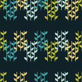 Fundo sem emenda com folhas decorativas brushwork Choque da mão Textura do garrancho Fotografia de Stock Royalty Free