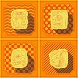 Fundo sem emenda com glyphs dos numerais da cabeça do Maya ilustração royalty free