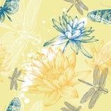 Fundo sem emenda com lírios de água, libélulas ilustração stock