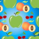 Fundo sem emenda com maçãs, as cerejas e os pêssegos suculentos ilustração do vetor