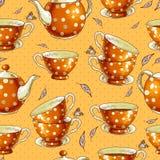 Fundo sem emenda com os copos do chá e dos potenciômetros Imagens de Stock Royalty Free